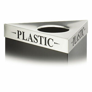 "Safco Triangular Lid For Trifecta Receptacle Laser Cut ""PLASTIC"" Inscription"