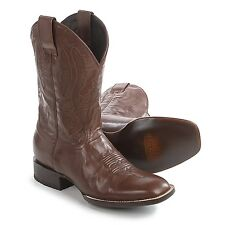 Steton Men's Cavalry US 11 D Brown Leather Square Toe Western Cowboy Boots $370