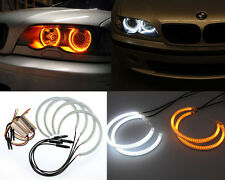 4Pcs Dual Color SMD LED Angel Eyes Halo Rings Bright For BMW E36 E38 E39 E46 DRL