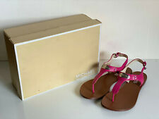 NEW in BOX MICHAEL KORS MK PLATE THONG PINK PATENT SANDALS SHOES 6.5 $120 SALE