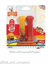 NYLABONE DURA CHEW 2pk REGULAR Size Tough USA Dog Chew Bones Toys Bacon ApplePie