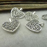 20/50/100pcs Tibetan Silver Peach Heart Flower Charms Pendant Beads Jewellery