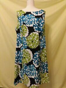 Dress Barn Woman Floral Sheath Dress Sz 18 Blue/Green/White