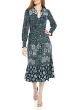 Michael Kors Tie-Neck Smocked Blouson Midi Dress P/L