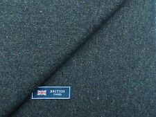 100% WOOL TWEED FABRIC, MIXTURE DARK TURQUOISE BLUE - MADE IN ENGLAND 2.55METRES