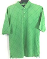 TOMMY HILFIGER GOLF Mens XL Golf Polo Shirt Green Diagonal Windowpane