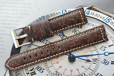 22mm Rugged European Thick Oiled Leather Strap Distressed Patina Brown Band