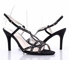 Black New Glitter Sandals Slingbacks Buckle Womens High Heels Shoes Size 6