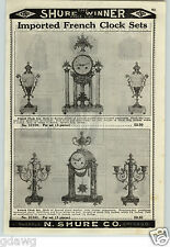 1926 PAPER AD French Colored Marble 14 Day Pendulum Ornament Vases Candlesticks