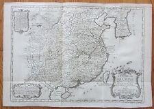BELLIN: Orginal Print Map of China Empire de la Chine - 1750