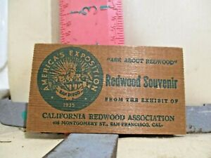 REDWOOD SOUVENIR BUSINESS CARD FROM AMERICA'S EXPOSITION , SAN DIEGO , 1935
