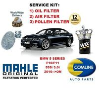 FOR BMW 5 SERIES F10 F11 535 3.0 2010 >ON OIL AIR POLLEN FILTER SERVICE KIT