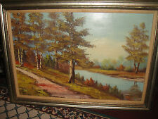 Vintage Holland Oil Painting On Canvas-Signed Vermurk ?-Nature Trees Forest Lake