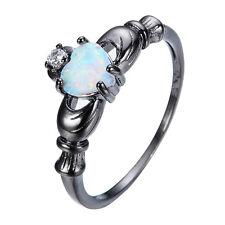 Cute Claddagh Heart White Fire Opal & CZ Wedding Band Ring Black Gold Size 5-11