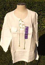 Company Ellen Tracy womens linen tunic blouse shirt size XXL Tab Sleeve NWT