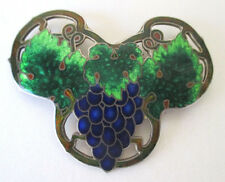 Vintage Cloisonne Enamel Pin Brooch Sterling Silver Grapes & Leaves Pattern