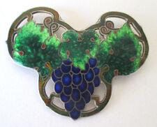 Vintage Cloisonne Sterling Silver Enamel Pin Brooch Grapes & Leaves
