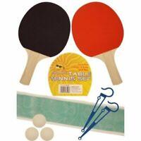 2 Player Table Tennis Set, 2 Bats, 3 Balls, Net & Poles Outdoor Indoor Game