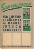 Card Germany Revenue 1942 Stamps WWII Sammelbogen 1KG Knochen Kernseife Paper U