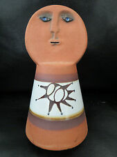 Vtg Hand Made, Painted Mud Clay Pottery Bell, Face - Brown