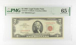 1963 $2 FR1513* (*A Block) Red Seal Graded PMG - 65 EPQ Legal Tender *792