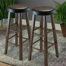 Set of 2 Bar Stools Round Solid Wood Kitchen Island Breakfast Nook Dark Brown