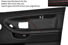RED STITCH 2X FRONT DOOR CARD LEATHER COVERS FITS BMW E36 SALOON SEDAN 91-98
