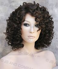 Human Hair Blend wig Short Corkstrew Curly Brown mix Heat Safe mel MF4/27
