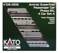 Kato N Scale 106-3515 Amtrak Superliner Four Passenger Car Set A Phase IVb New!