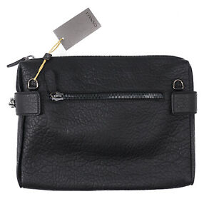 Canali Black Textured Grained Leather Laptop Travel Case NWT $945 Shoulder Bag