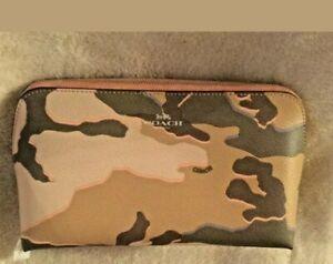 COACH Wild Camo COSMETIC BAG PRINT ALL AROUND ZIP SIZE 5 x 9 x 3 INCHES