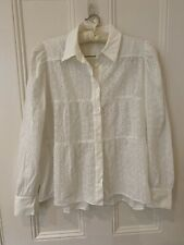 Finery BNWOT broderie Anglaise White Blouse Shirt Puff Sleeve Sz 10 Oversized