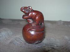 Netsuke rat souris (2) Figurine buis japonais Handcarved Handmade Carving
