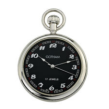 Gotham Men's Classic Silver-Tone 17 Jewel Mechanical Pocket Watch # GWC14048SB