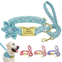 Flower Personalized Dog Collar and Leash Set Nylon Engraved ID Name Tag Labrador