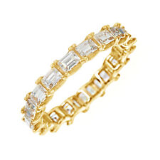 Baguette Diamond Eternity Wedding Ring 14k Yellow Gold Over 925 Sterling Silver