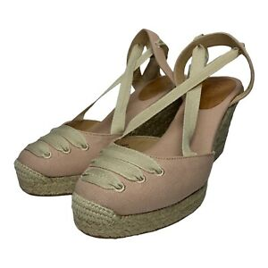 J CREW Sardinia Ankle Wrap Espadrille Wedge Shoes Pink Women's Size 8M NWOT