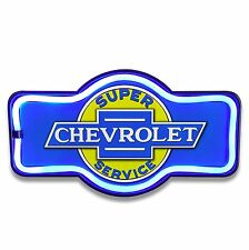 "Chevrolet LED Neon Lighted Sign, 17"" Marquee Shape, Chevy, Bar, Garage, Man Cave"