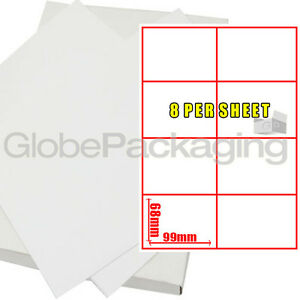 10 Sheets Of Printer Address Labels - 8 Per Sheet