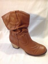 Autograph Brown Mid Calf Leather Boots Size 4.5