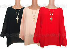 New Women's  Loose Fit Batwing Top with Inside Top & FREE NECKLACE 16,18,20,22