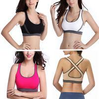 New Ladies Yoga Sports Bra Crop Top Vest Comfort Stretch Bras Shapewear Padded