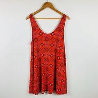 Ripcurl Womens Dress Size 12 Red/Orange Abstract Design Gorgeous Summer Dress