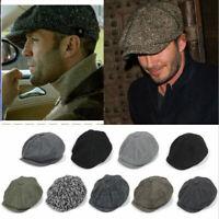 Peaky Blinders Hat Newsboy Flat Cap Herringbone Tweed Wool Baker Boy Gatsby UK a