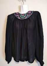 Vintage Jamboree New York Women's Blouse Long Sleeve Glitter Neckline Size 12