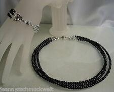Neu~Schmuckset Perlen-Collier u.Armband 3reihig in schwarz