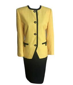 KASPER  2 PC Black Yellow Vintage Polyester Viscose Blend Skirt Suit Size 8