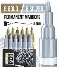 Gold & Silver Paint Pens for Rock Painting, Stone, Metal 12 Oil based Markers