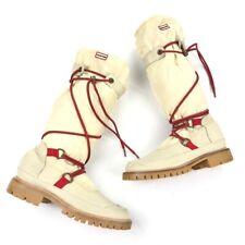 Hunter Women's Amazonas Summit Waterproof Boots Cream/Red Lace-Up • Size 6