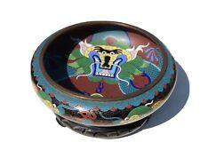 More details for cloisonné enamel dragon bowl